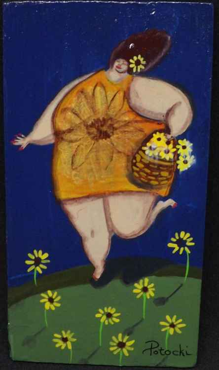 BBW Picking Daisies  Original Painting on Wood