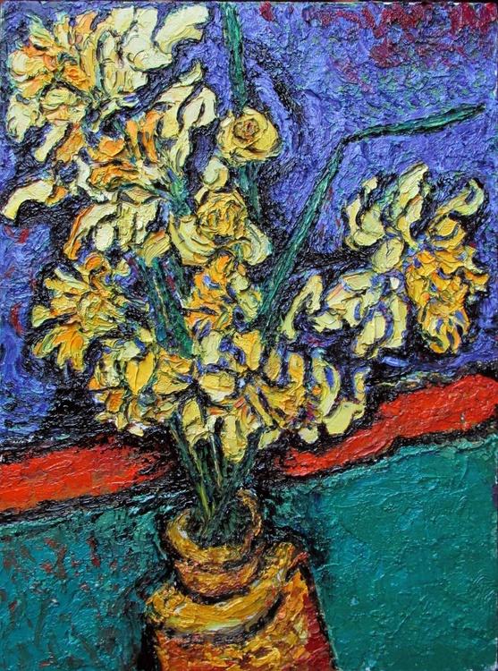 Daffodils in an earthenware jar - Image 0