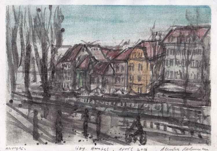 City Houses, April 2016, acrylic on paper, 20,7 x 29,6 cm -