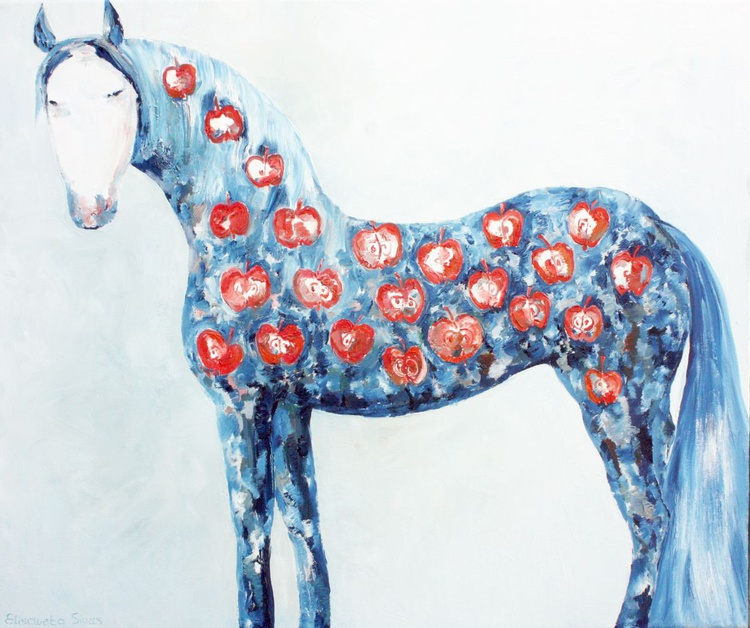 BLUE HORSE WITH RED APPLES - Image 0