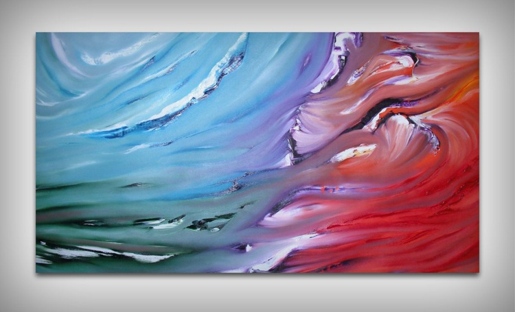 Dualism - 102x54 cm, Original abstract painting, oil on canvas - Image 0