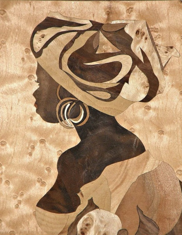 Marquetry work - Girl rom Senegal - Image 0