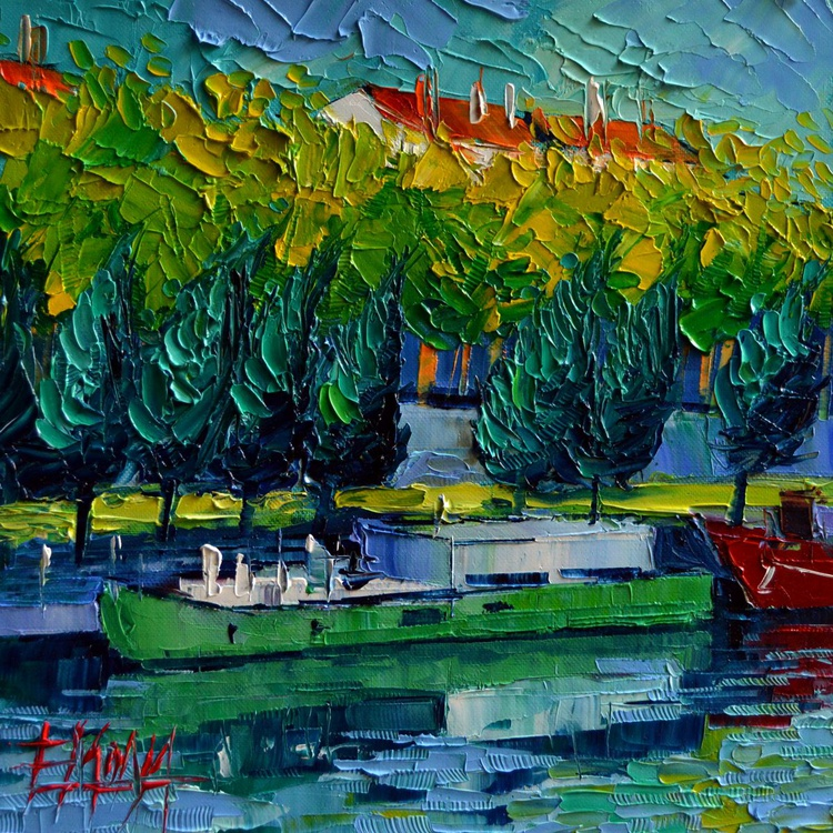 ONE BARGE ON THE RHONE RIVER - Image 0