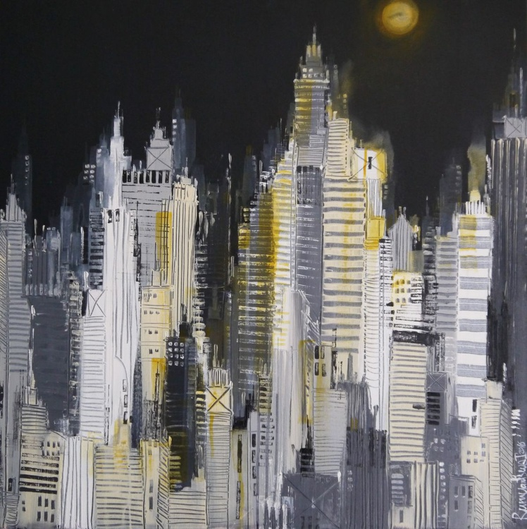 Midnight Skyline - 80cm x 80cm, ready to hang - Image 0