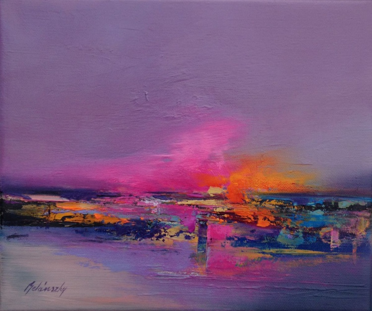 Inner Fire - 25 x 30 cm, abstract landscape oil painting, gray, purple, magenta, pink - Image 0