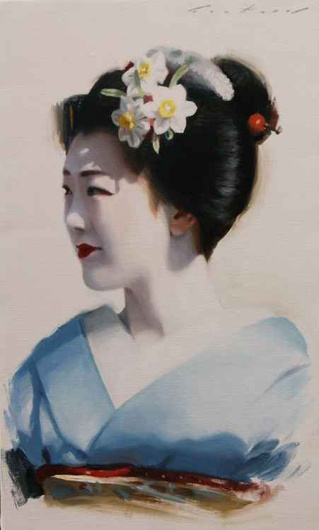 Tomitae in Blue - japanese geisha asian maiko