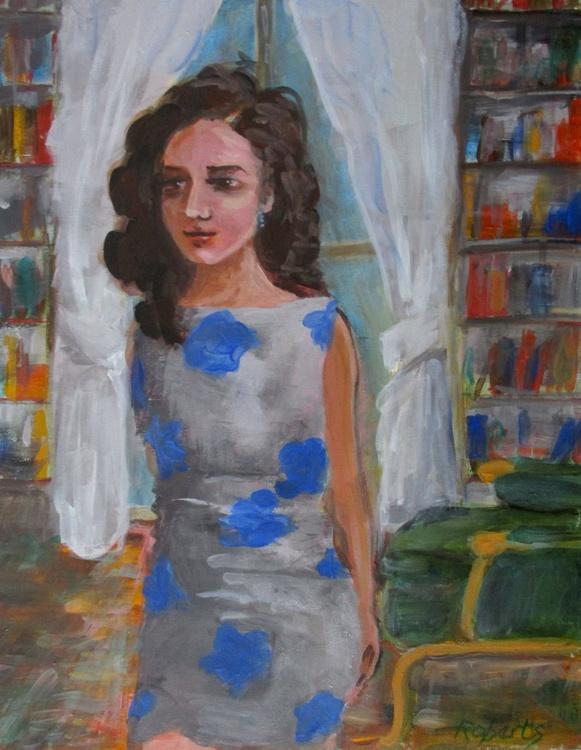 Woman in print dress - Image 0