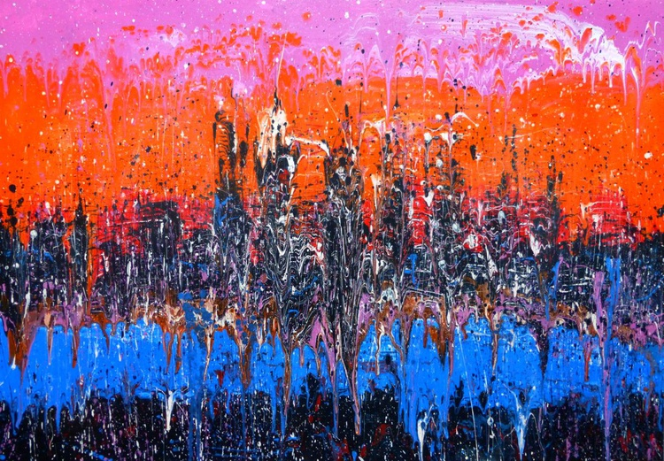 Evening city. Original painting, 100x70cm. ready to hang - Image 0