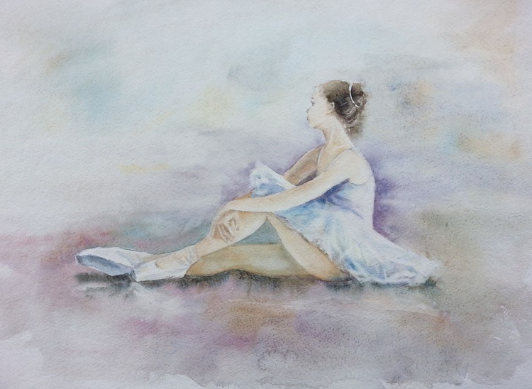 Young Ballerina Sitting on the Floor of a Studio - Image 0