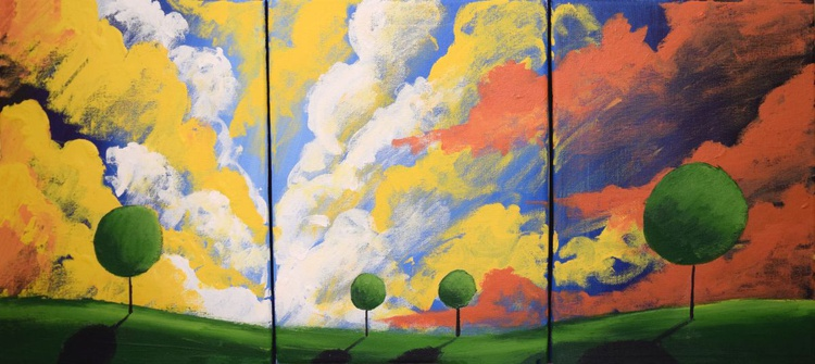 "triptych 3 panel wall art colorful images ""clouds of colour"" 3 panel canvas wall abstract canvas pop abstraction 27 x 12"" - Image 0"