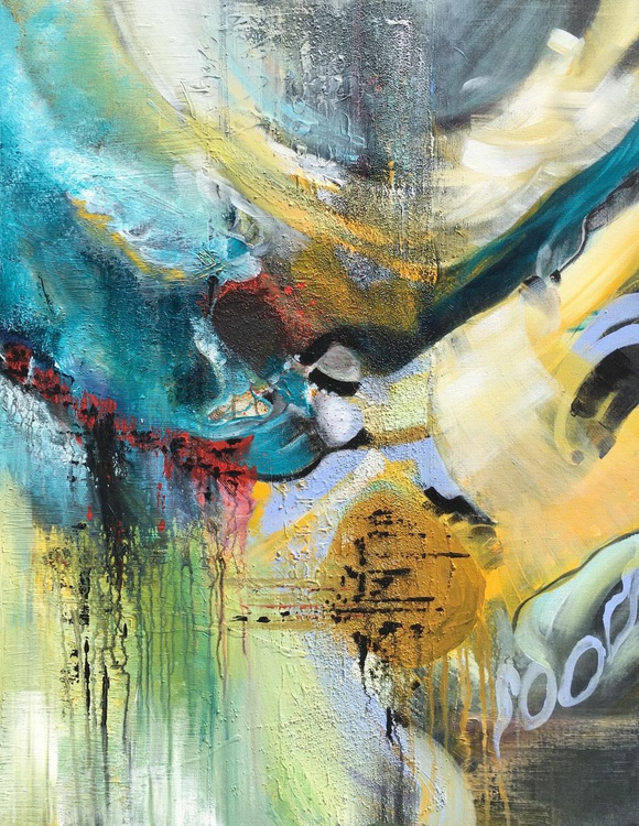 """""""Join my world II"""" ,  Large Abstract Acrylic Painting - 28x36inches - Image 0"""