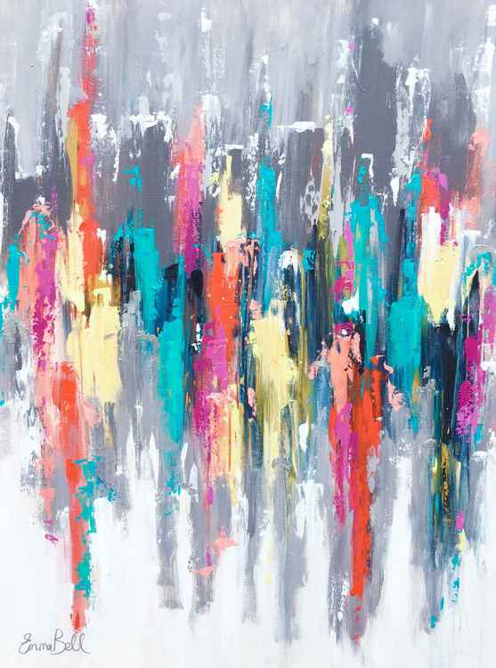 "Abstract in Acrylic 'In the City' 40""x30"" -"