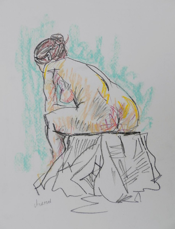 Female Nude Original Charcoal Pastel Figure Study Life Drawing Gesture Seated Nude From Behind - Image 0