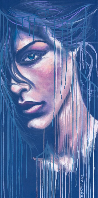 """""""I've been throug '"""",Original acrylic painting on canvas 50x100x2cm from serie """" Blue dimension"""" - Image 0"""