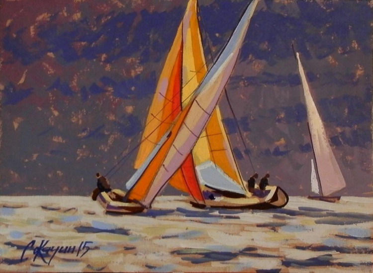 Sun and Yachts. Original painting 30x21 cm - Image 0
