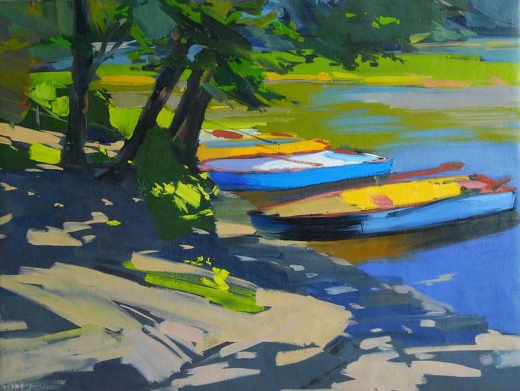 """Plein air Oil Painting, """" Boats """" - Image 0"""