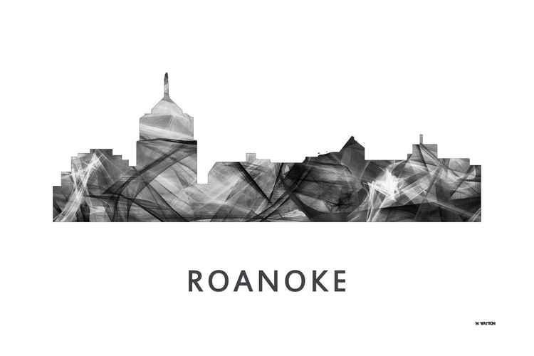 Roanoke Virginia Skyline WB BW