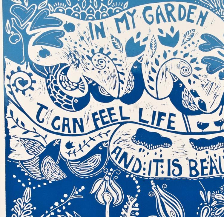 In my Garden, linocut - Image 0
