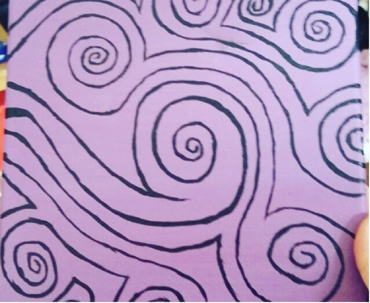 purple swirls 20 x 20 cm canvas - Image 0
