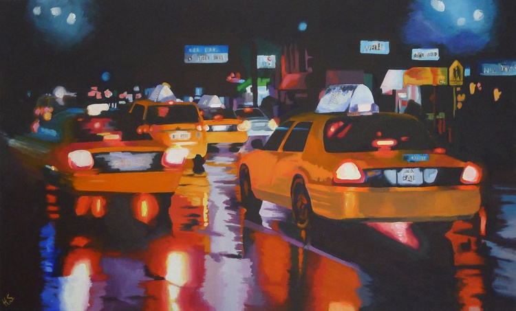 New York Taxi Cabs in the Rain - Image 0