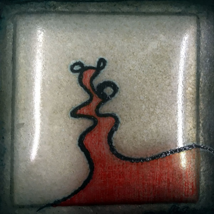 """Bronze cast glass drawing - """"Kiss"""" - Image 0"""