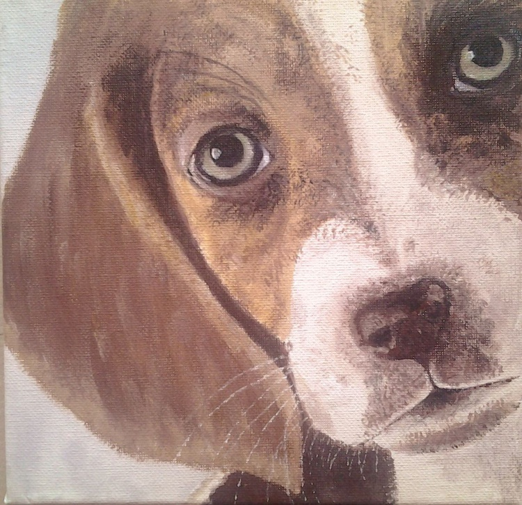 """""""Puppy"""", acrylic on 20x20cm canvas. Ready to hang - Image 0"""