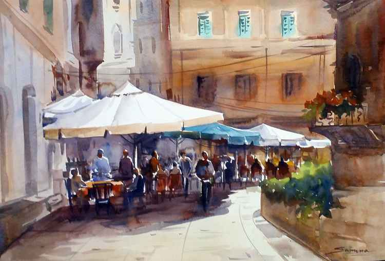 Morning Cafe - Watercolor painting