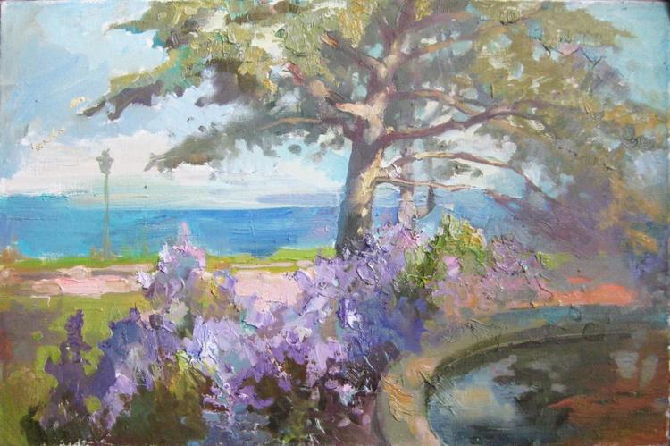 Landscape. Violet blooms - Image 0