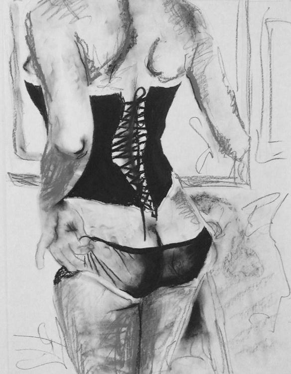 """Corset"" - original pencil drawing on paper - Image 0"