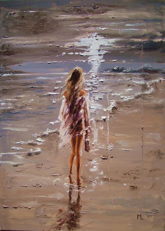 """ WALKING AWAY ... "" SEA original painting palette knife GIFT MODERN URBAN ART OFFICE ART DECOR HOME DECOR GIFT IDEA - Image 0"