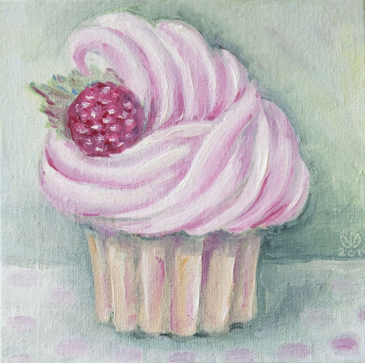 Raspbery Muffin (10x10 cm) original oil painting little still life yummy realistic small gift kitchen decor - Image 0