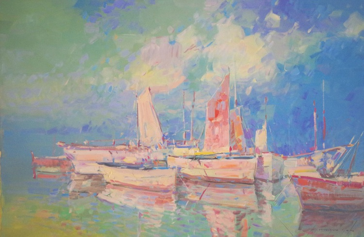 Harbor, Sail Boats, Original oil painting  Handmade artwork One of a kind Signed with Certificate of Authenticity - Image 0