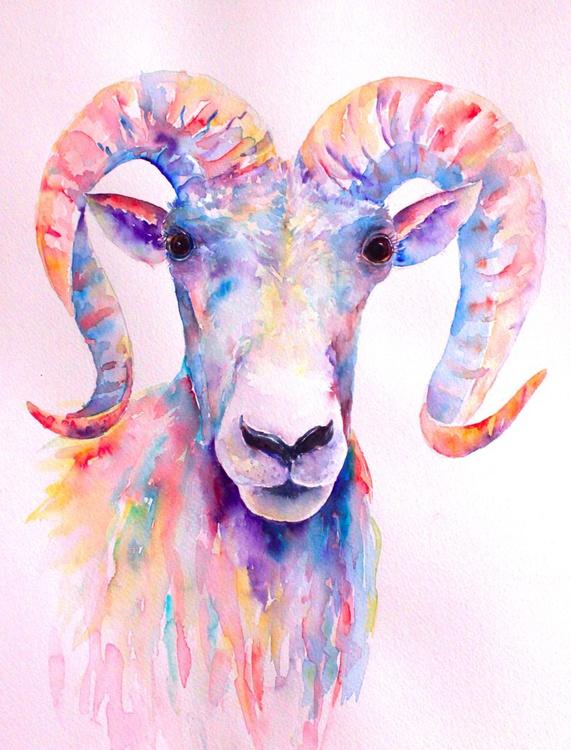 Abstract Watercolour Ram Portrait - Image 0