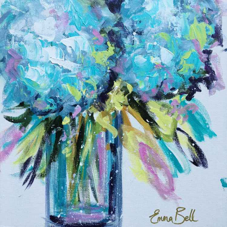 Blue Hydrangeas mini floral on canvas board