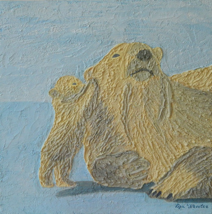 Polar Secrets - modern abstract polar bear mother, cub, animal impasto painting - Image 0