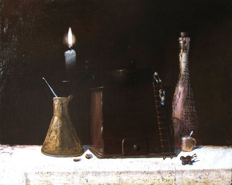 Still life with the coffee grinder and the candle - Image 0