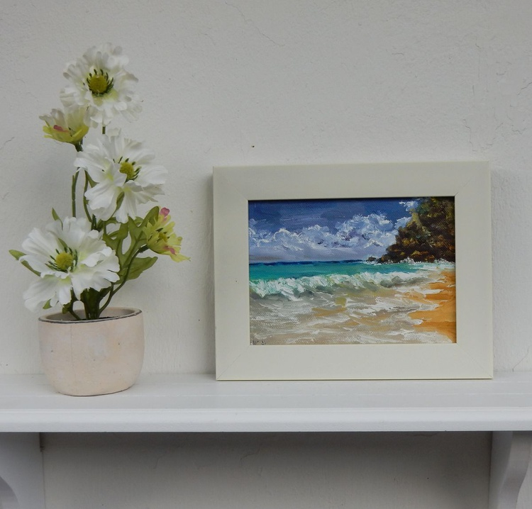 Seascape 1. Small painting on canvas. - Image 0