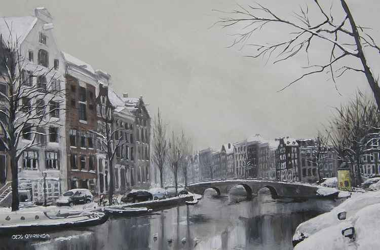 Some snow at the Prinsengracht -