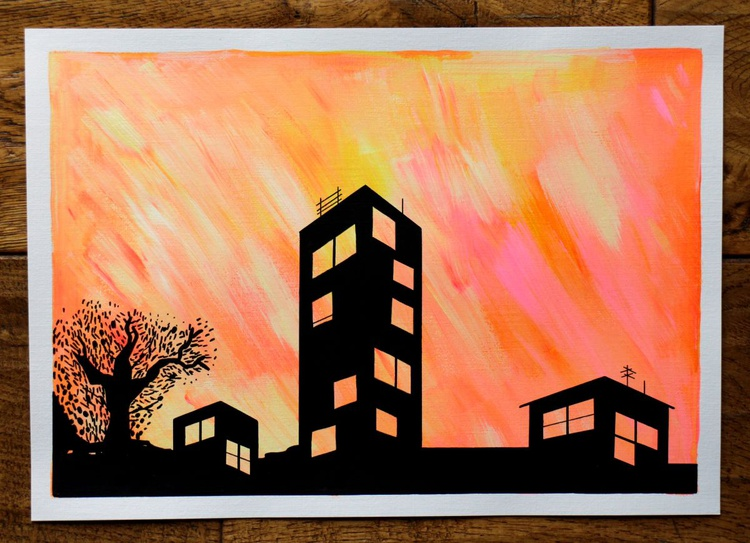 East London Sunset Painting On A4 Paper - Image 0