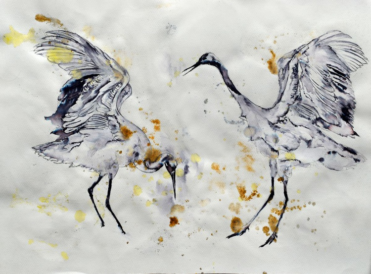 The fight / Bird Ink painting - Image 0