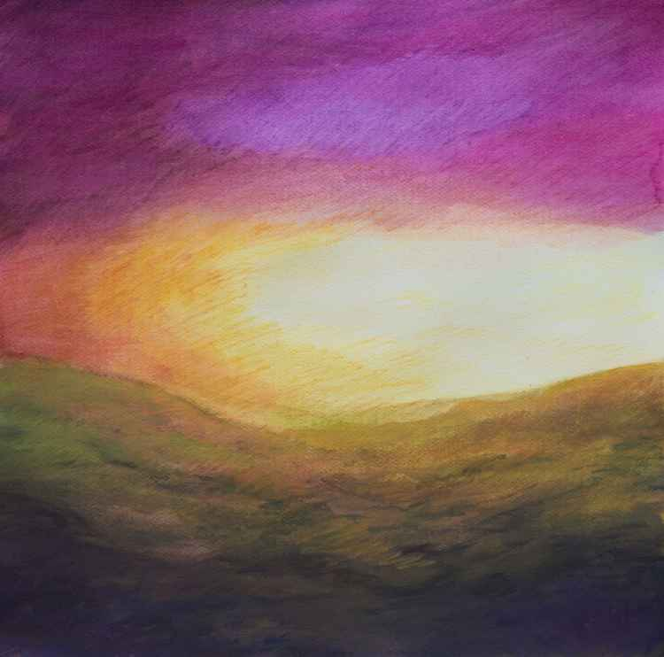 Autumn purple sky - medium size on paper - 50X50 cm -