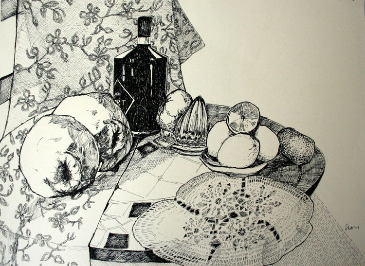 Still life with a bottle, quinces and lemons - Image 0