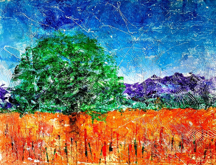Senza Titolo 195 - abstract landscape - 112 x 86 x 2,50 cm - ready to hang - acrylic painting on stretched canvas - Image 0
