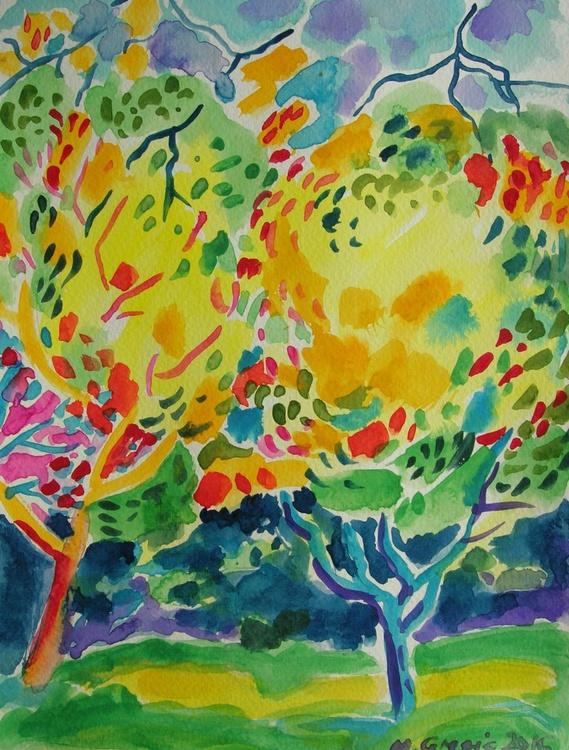 Yellow treetops - watercolour - Image 0