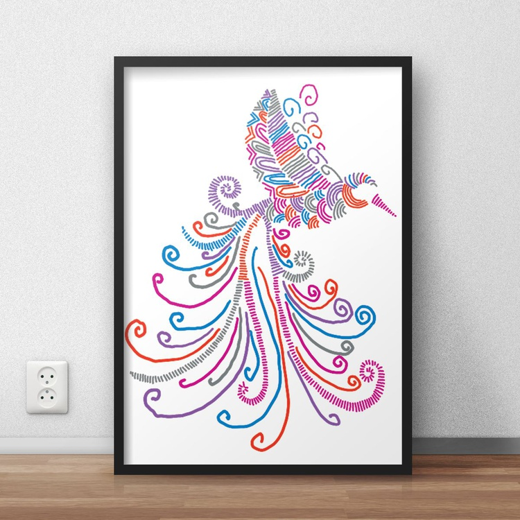 Hyper Detailed Colourful and Vibrant Flying Bird Digital Print Decor for Home or Nursery - Image 0