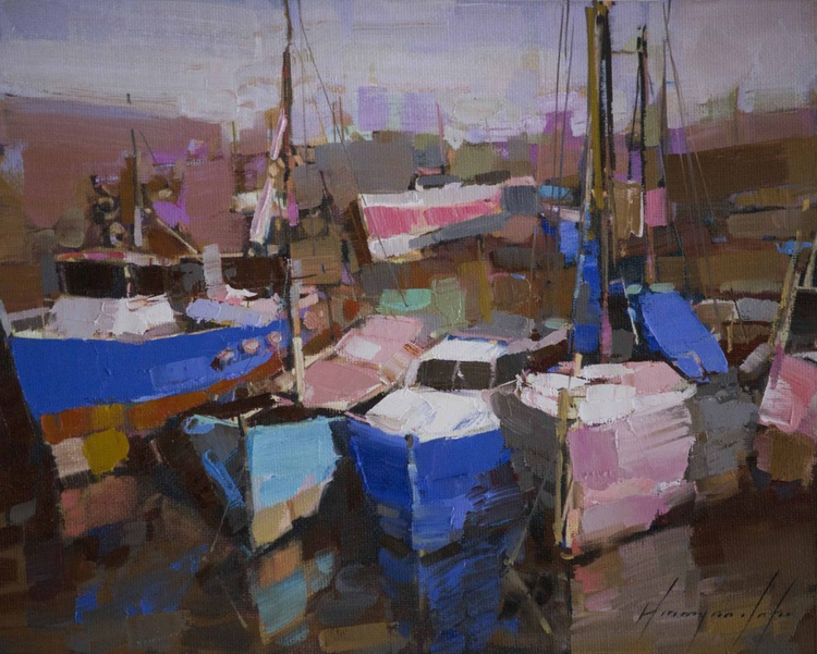 Harbor Handmade oil Painting One of a Kind - Image 0