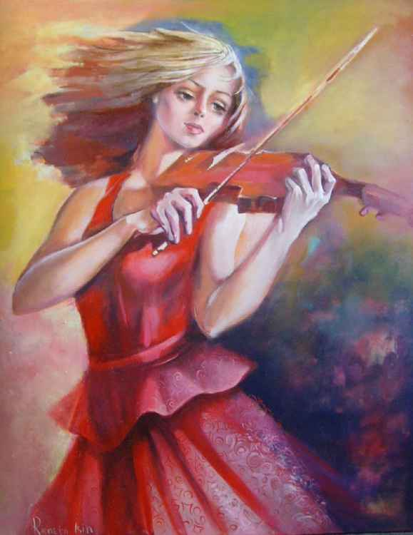 Girl with violin - 80 x 100cm