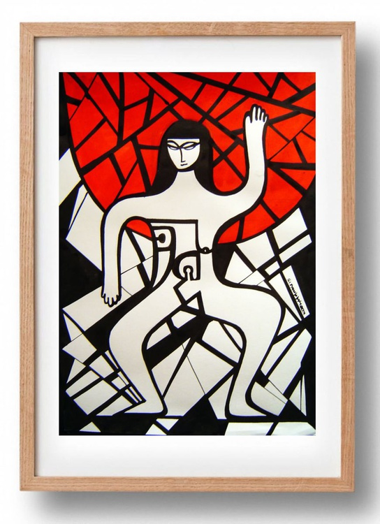 Nude with Red Background - Image 0
