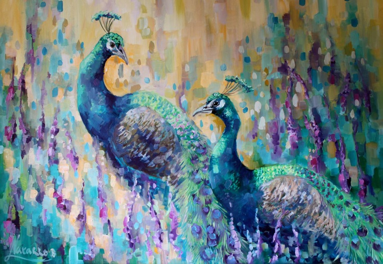 "Peacock painting, ""In the bloom"" - Image 0"