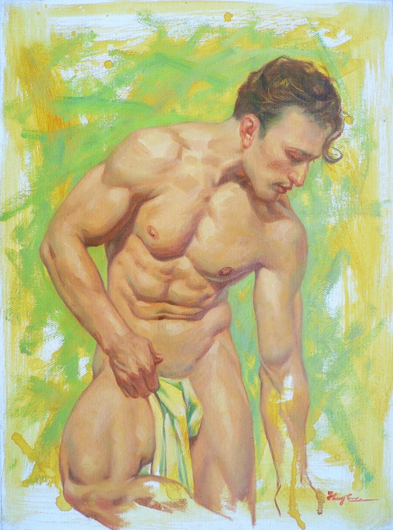 ORIGINAL OIL PAINTING BODY ART MALE  NUDE MAN ON LINEN#16-7-24 - Image 0